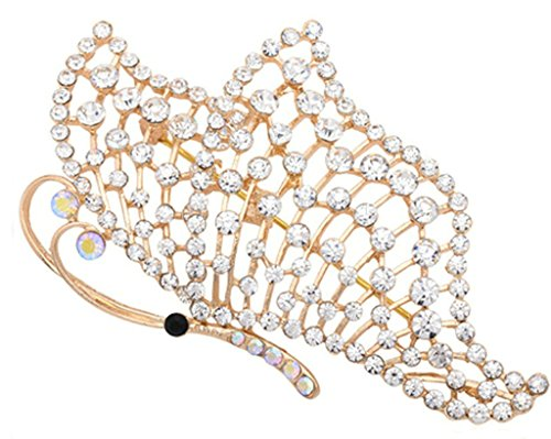 broche de oro blanco con forma de mariposa