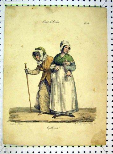 FarbDruck-Alte Frauen-Kostüme Pigal der Antiken-C1849