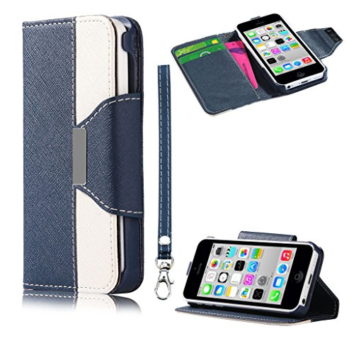 Mylife (Tm) Tufts Blue + Floral White {Modern Design} Faux Leather (Card, Cash And Id Holder + Magnetic Closing + Hand Strap) Slim Wallet For The Iphone 5C Smartphone By Apple (External Textured Synthetic Leather With Magnetic Clip + Internal Secure Snap