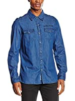 PAUL STRAGAS Camisa Hombre Denim Long Sleeve (Azul)