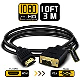 M//F,One Way Transmission Gold-Plated High-Speed Male to Female Video Converter with 3.5 mm Audio Output and Micro USB Power Cable for PC Monitor Projector Golvery Active 1080p VGA to HDMI Adapter