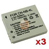 3 PACK Lithium-ion NB-4L NB4L Battery For Canon Camera