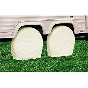 "TCP Global® Set of 4 Canvas Wheel Tire Covers for RV Auto Truck Car Camper Trailer to 28"" Diameter"