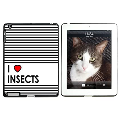 I Love Heart Insects - Snap On Hard Protective Case for Apple iPad 2 3 4 - Black Coupon 2015
