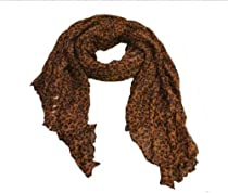 Women Favorite Retro Coffee Oversized Leopard Scarf 66""