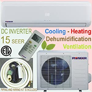 Pioneer Ductless Mini Split INVERTER Air Conditioner, Heat Pump, 12000 BTU (1 Ton), 15 SEER, Cooling, Heating, Dehumidification, Ventilation. Including 16 Foot Installation Kit.. 208~230 VAC. from Pioneer