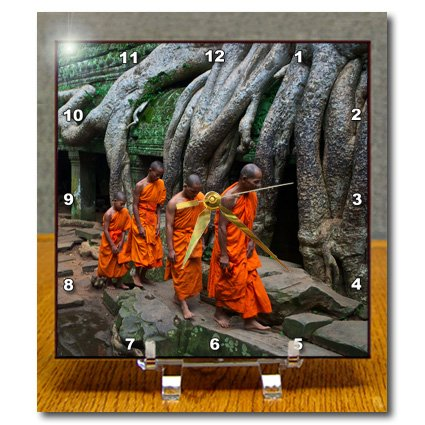 KIKE CALVO Asian Cambodia Angkor Wat and Buddhist Collection - Orange, Green Theravada Buddhists walking in file, Ta Prohm Jungle Temple - Desk Clocks walking through the jungle