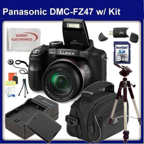 Panasonic LUMIX DMC-FZ47 Digital Camera (Black) with SSE Gift Package: Includes - 8GB SDHC Memory Card, Card Reader, Additional Replacement Battery, Travel Charger and much more...