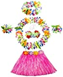 WISDOMTOY 6- piece Holiday Christmas Party Costumes Hawaiian Hula Grass Skirt Dance Wears Clothing Set, Pink