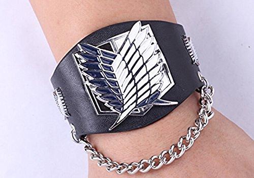 Attacco sulla cinghia Titan punk nero Ampia Bracciale in pelle Wings Of Freedom Bandiera Cosplay costume Braccialetti