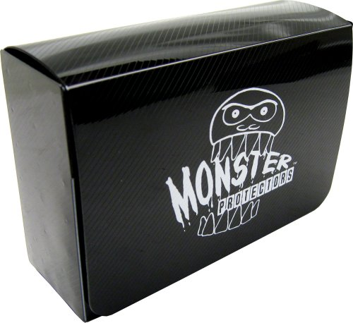 Monster Protectors Trading Card Double Deck Box with Self-locking Magnetic Closure - Black (Fits Yugioh, Pokemon, Magic the Gathering Cards)
