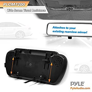 Pyle PLCM7200 Backup Camera & Rearview Monitor Parking Reverse System, Waterproof Night Vision Cam, 7'' LCD Display Built-into Mirror Assembly, Distance Scale Lines, Swivel Angle Adjustable Cam