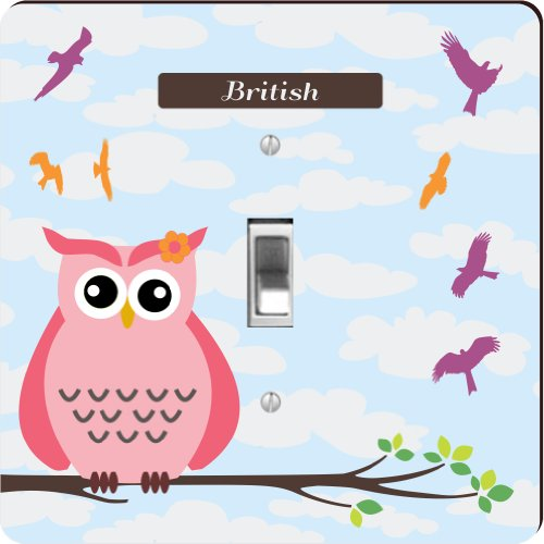 """Rikki Knighttm """"British"""" Name - Cute Pink Owl On Branch With Personalized Name - Single Toggle Light Switch Plate front-628025"""