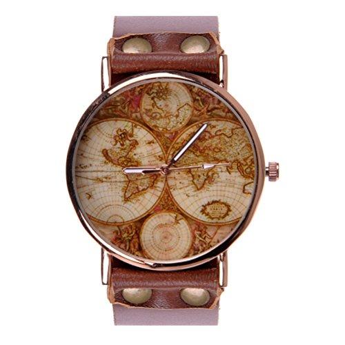 ZLYC Unisex Fashion Handmade World Map Classic Golden Edge Leather Strap Round Face Wrist Watch, Brown image