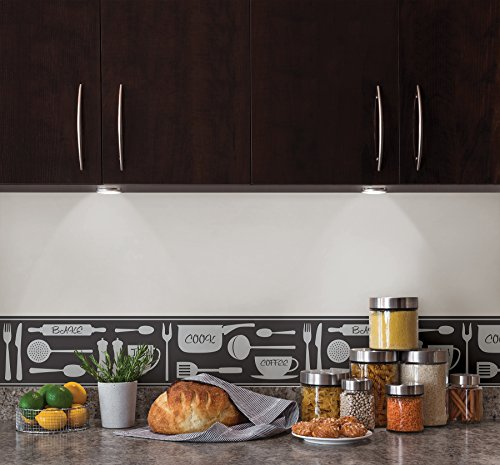 bhf fdb50046 ceramica cook la cuisine et salle de bain frise auto adh sive noir. Black Bedroom Furniture Sets. Home Design Ideas
