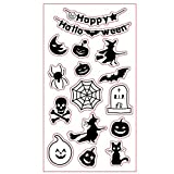 Happy Halloween Style Witch Pumpkin Spider Rubber Clear Stamp for Card Making Decoration and Scrapbooking (Tamaño: 11x15cm)