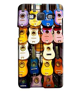 Blue Throat Guitar Pattern Hard Plastic Printed Back Cover/Case For Samsung Galaxy E7