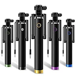 Mini Aux Wired Selfie Stick Compatible for all Smart Phones No Charging Required by Droit Store.