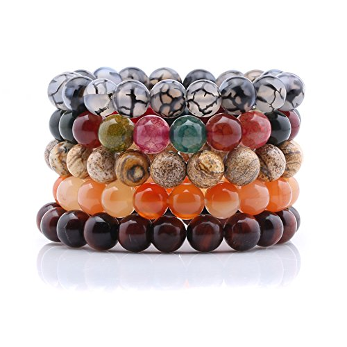 10mm Onyx Gem Stone Beads Unisex Bracelets Stretch Handmade Elastic Bracelet Set of 5 (Bracelet With Gems compare prices)