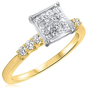 1/2 CT. T.W. Diamond Ladies Engagement Ring 14K Yellow Gold- Size 5.25