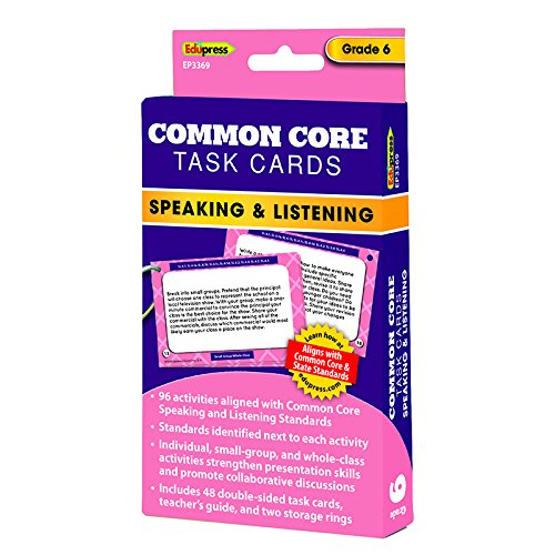 Edupress Common Core Speaking and Listening Task Cards, Grade 6 (EP3369)
