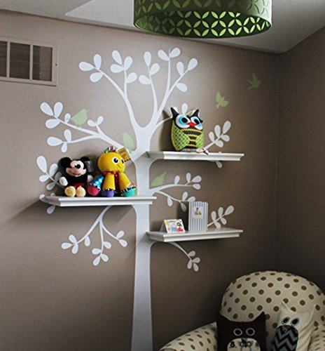 "Shelving Tree Wall Sticker with Birds (Small Size: Tree Size 51"" w x 88"" h)"