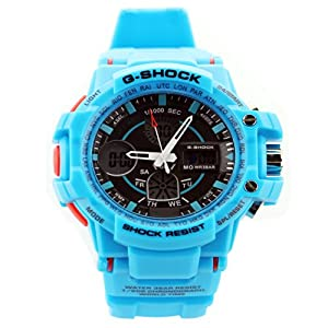 Fashion Sport Watch Multifunction Multi-LED Dual Time Led Light Analog Digital Waterproof Alarm Shock Boys Men Wristwatch With Gift Package (Light Blue)