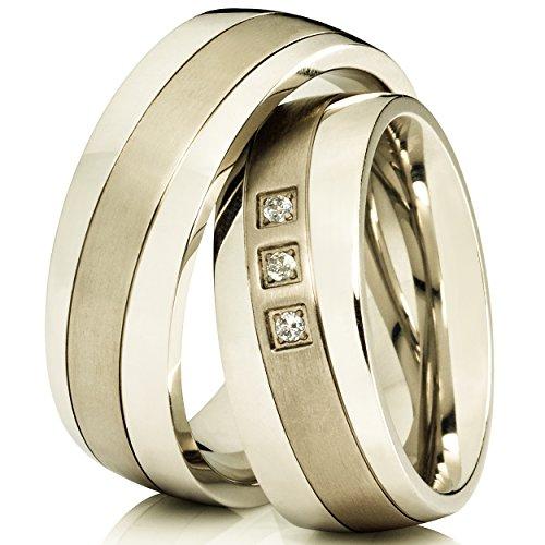 2-Silberfarbene-Trauringe-Eheringe-Verlobungsringe-aus-Titan-mit-Kostenloser-Lasergravur-3-Zirkonia-im-Damenring