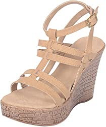TROTTERS Womens Beige Synthetic Wedges - 38 EU