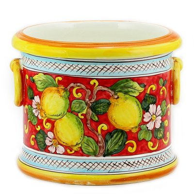 LIMONI FONDO ROSSO: Round cachepot with rings [#9282-LFR] (Italian Ceramics Cachepot compare prices)
