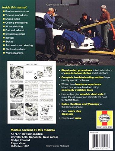 Haynes Chrysler Lhs, Concorde, New Yorker-Dodge Intrepid and Eagle Vision 1993-97 (Haynes Automotive Repair Manuals)
