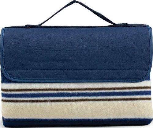 Picnic Time Sunshine Blanket Tote, Blue Stripe front-205959
