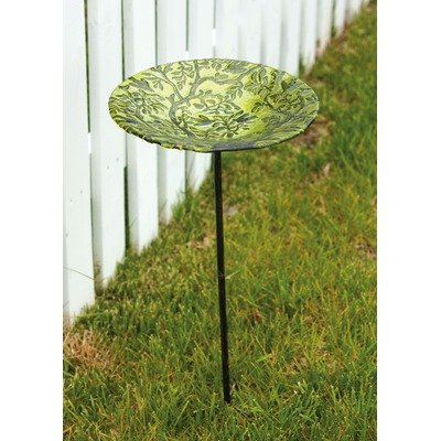Bird Bath Stake Tree of Life in Glass