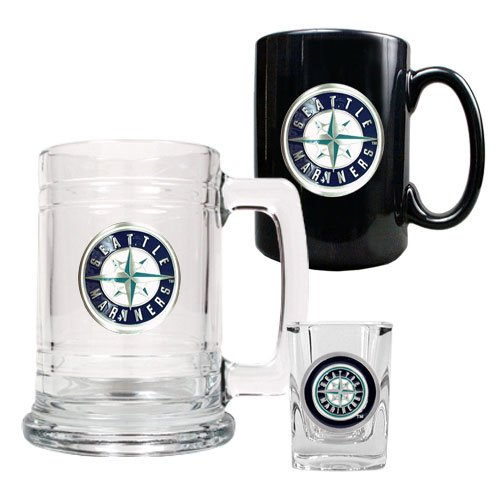 MLB Seattle Mariners 15-Ounce Tankard, 15-Ounce Ceramic Mug & 2-Ounce Shot Glass Set - Primary Logo at Amazon.com