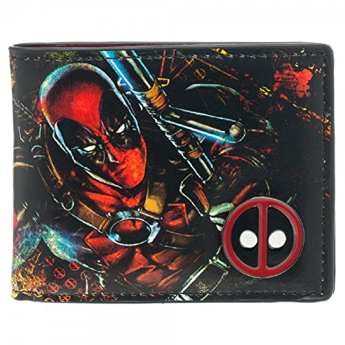 Marvel Comics Bifold Deadpool Wallet with Metal Badge