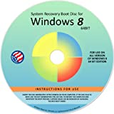 Windows 8 eight System Recovery Disk Boot CD 64 bit. (disc is compatable with Home Basic, Home Premium, Business, and Ultimate)