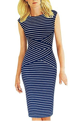 Viwenni Women's Summer Striped Sleeveless Wear to Work Casual Party Pencil Dress