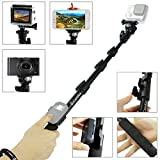 """Premium 16 - 47"""" Telescopic Pole by CamKix - For GoPro Hero; Compact Cameras; and Cell Phones - With Cradle for Wifi Remote - Extra Strong and Stable Clip Lock System - Includes GoPro Mount, Cell Phone Holder, Selfie Mirror, Thumbscrew, and Adjustable Lanyard"""