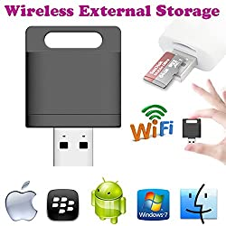 Gadget HerosTM Wireless Wifi Card Reader Extended Mobile Storage For Apple iPhone iPad Android Phones & Tablets.