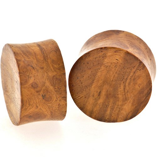 Pair of Ambonya Burl Wood Double Flared Concave Plugs: 1