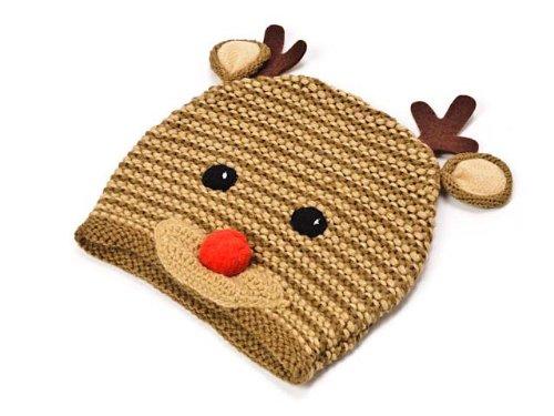 (マッドパイ) Mud Pie ベビー/キッズ ニット帽/ハット/帽子 131235 KNIT REINDEER HAT/トナカイ/クリスマス ブラウン 3 Age+and up(3才以上) [並行輸入品]