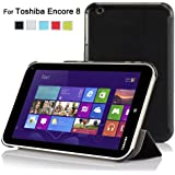 IVSO Slim Smart Cover Case for Toshiba Encore 8-Inch Windows 8.1 Tablet - will only fit Toshiba Encore WT8 (Black)