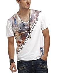 Chlorophile Men's V Neck Cotton T-Shirt (Bih_White_Medium)