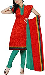 Majaajan Women's Cotton Self Print Unstitched Salwar Suit Dress Material (BNSL0581RED, Red, Freesize)
