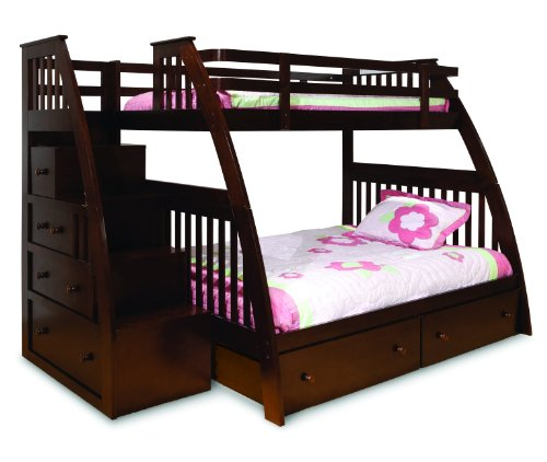 Epic Canwood Ridgeline Bunk Bed with Built In Stairs Drawers Twin Over Full Espresso