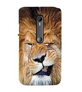 lion with Funny Face 3D Hard Polycarbonate Designer Back Case Cover for Motorola Moto G3 :: Motorola Moto G 3rd Gen :: Motorola Moto G Gen 3 :: Motorola Moto G Dual SIM 3rd Gen :: Motorola Moto G3 Dual SIM