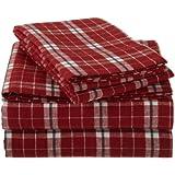 Pinzon Lightweight Cotton Flannel Sheet Set - Queen, Cream/Red Plaid