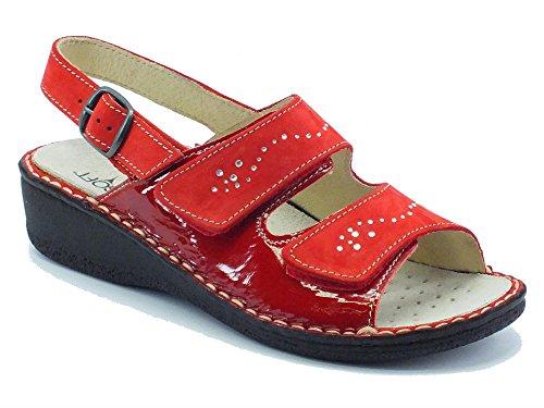 Sandali Cinzia Soft per donna in nabuk e vernice rosso doppio velcro (Taglia 40)