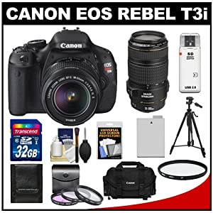 Canon EOS Rebel T3i 18.0 MP Digital SLR Camera Body & EF-S 18-55mm IS II Lens with 70-300mm IS USM Lens + 32GB Card + Battery + Case + Filter Set + Tripod + Cleaning Kit