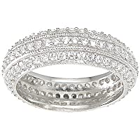 Designer Inspired Jewelry Sterling Silver Multi Row Pave CZ Wedding Band Ring